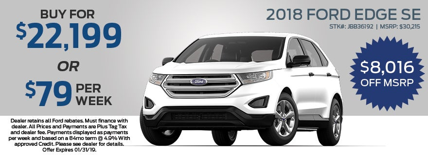 Ford Edge Se Grieco Ford Of Delray Beach Specials Delray Beach Fl